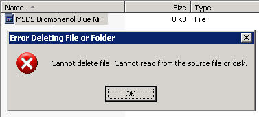 cannot delete file